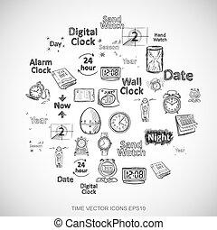 čerň, doodles, rukopis, kreslení, doba ikona, dát, dále, white., eps10, vektor, illustration.