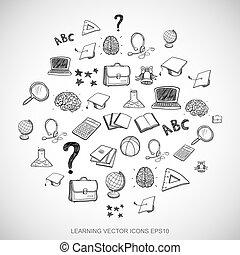čerň, doodles, rukopis, nahý, školství, ikona, dát, dále, white., eps10, vektor, illustration.