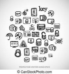 čerň, doodles, rukopis, nahý, bezpečí, ikona, dát, dále, white., eps10, vektor, illustration.