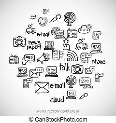 čerň, doodles, rukopis, nahý, novinka, ikona, dát, dále, white., eps10, vektor, illustration.