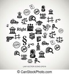 čerň, doodles, rukopis, nahý, právo, ikona, dát, dále, white., eps10, vektor, illustration.