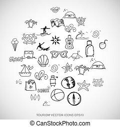 čerň, doodles, rukopis, nahý, prázdniny, ikona, dát, dále, white., eps10, vektor, illustration.