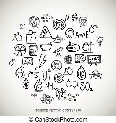 čerň, doodles, rukopis, nahý, věda, ikona, dát, dále, white., eps10, vektor, illustration.