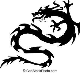 čerň, ilustrace, dragon., vektor, silueta