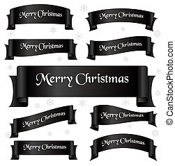 čerň, lesklý, barva, merry christmas, heslo, oblý, lem, standarta, eps10