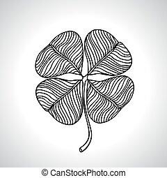 čerň, makro, jetel, list, blbeček, isolated., vektor, ilustrace