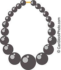 čerň, perle náhrdelník, muška, vektor, illustration.