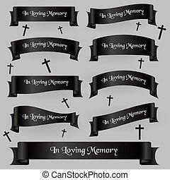 čerň, pohřeb, lem, standarta, dát, s, text, eps10