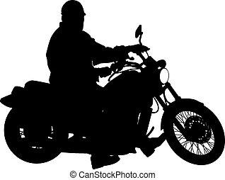 čerň, silhouettes, motocross, jezdec, dále, jeden,...