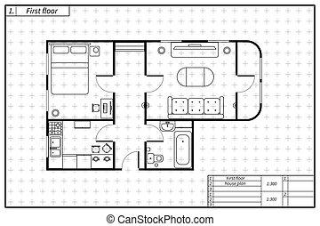 čerň, stavebnictví plánování, o, ubytovat se, s, nábytek, do, modrák, skica, móda