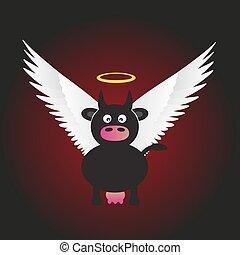 čerň, svatý, kráva, s, veličiny běloba, křídla, eps10