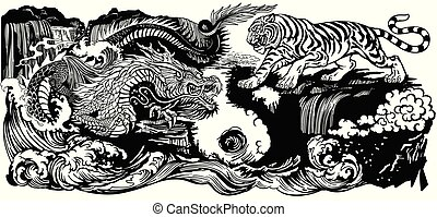čerň, yin yang, tiger, drak, neposkvrněný, proti