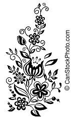 černobílý, květiny, a, leaves., květinový navrhovat, pralátka, do, retro čnělka