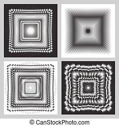 černobílý, mehrany, sklon, vektor, picture.
