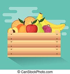 čerstvá zelenina, do, dřevěný, koš