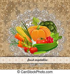 čerstvá zelenina, jako, tvůj, design., vinobraní, vybírání