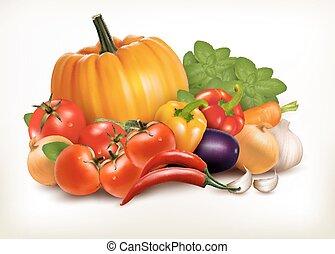 čerstvá zelenina, osamocený, oproti neposkvrněný, grafické pozadí., vektor, grafické pozadí.