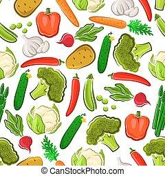 čerstvá zelenina, vegetarián, grafické pozadí, seamless