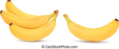 čerstvý, banán, osamocený, dále, white., vektor