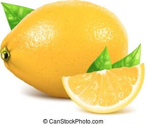 čerstvý, celek, a, krajíc, citrón, s, leaves.
