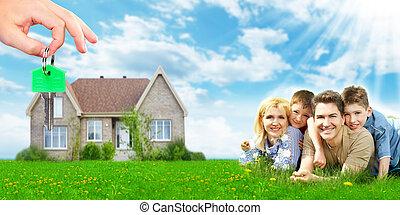 čerstvý, home., rodina, šťastný