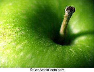 čerstvý, jablko, makro