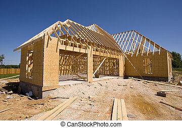 čerstvý, konstrukce, domů