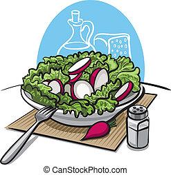 čerstvý, mladický salát, s, ředkvička