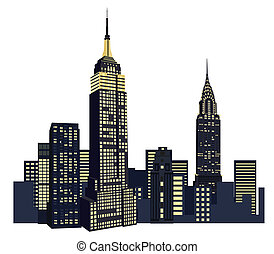 čerstvý, mrakodrapy, york