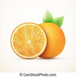 čerstvý, pomeranč, dary, s, mladický list