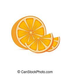 čerstvý, zralý, pomeranč, a, řezy