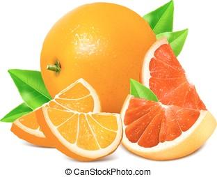 čerstvý, zralý, pomeranč, a, grapefruits.