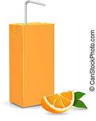 čerstvý, zralý, pomeranč, a, tekutina papírová krabice, soubor, s, tube., vektor, ilustrace