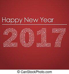 červeň, happy new year, 2017, od, maličký, sněhové vločky, eps10