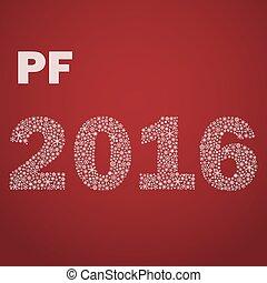 červeň, happy new year, pf, 2016, od, maličký, sněhové vločky, eps10
