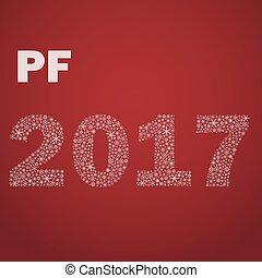 červeň, happy new year, pf, 2017, od, maličký, sněhové vločky, eps10