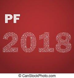 červeň, happy new year, pf, 2018, od, maličký, sněhové vločky, eps10