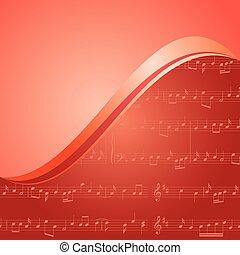 červeň, hudba, grafické pozadí, s, sklon, -, vektor