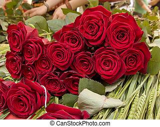 červeň, kytice, růže, v, florist's