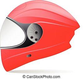 červeň, motocykl, helmet., profil, osamocený, dále, jeden, neposkvrněný, grafické pozadí., vektor, illustration.