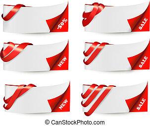 červeň, prodej, standarta, s, červeň, ribbons., vector.