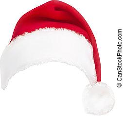 červeň, santa, hat., vector.