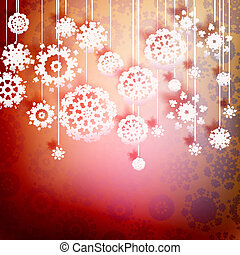 červeň, vánoce karta, s, snowflakes., +, eps10