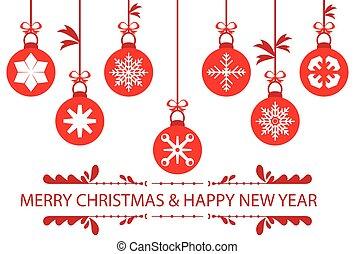 červeň, vánoce, kule, dát, symbol