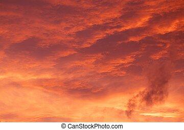 červeň, východ slunce, cloudscape