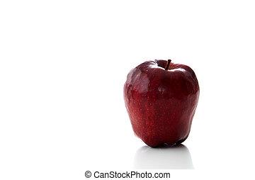 červeň, zralý, jablko, osamocený, oproti neposkvrněný