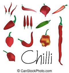červené šaty chilli pepř, tisk, o, horký, mrazivě, jednoduchý, barvitý, vybírání, eps10