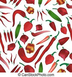 červené šaty chilli pepř, tisk, o, horký, mrazivě, jednoduchý, barvitý, vybírání, seamless, model, eps10