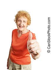 červené šaty haired, starší, thumbsup