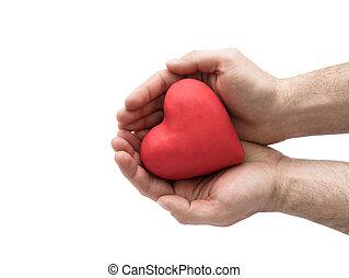 červené šaty jádro, do, voják, hands., zdravotní pojištění, nebo, láska, pojem